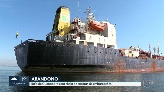 ACÚMULO DE NAVIOS ABANDONADOS TRANSFORMA BAÍA DE GUANABARA EM 'CEMITÉRIO DE EMBARCAÇÕES'.